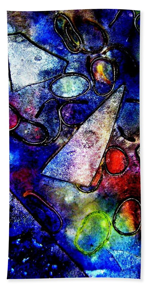 Abstract Hand Towel featuring the mixed media Cornucopia by John Nolan