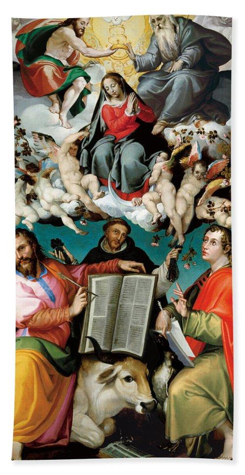Bartolomeo Passarotti Hand Towel featuring the painting Coronation Of The Virgin With Saints Luke Dominic And John The Evangelist by Bartolomeo Passarotti