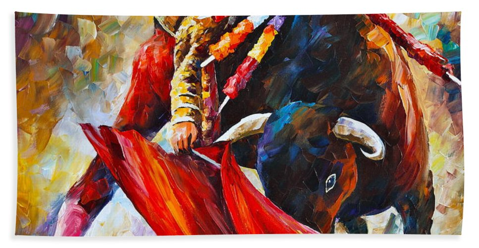 Corrida Bath Sheet featuring the painting Corrida New by Leonid Afremov