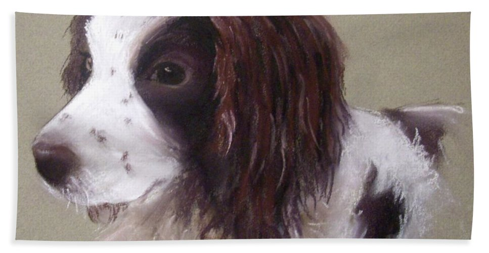 Spaniel Hand Towel featuring the pastel Corrie by Rosemarie Temple-Smith