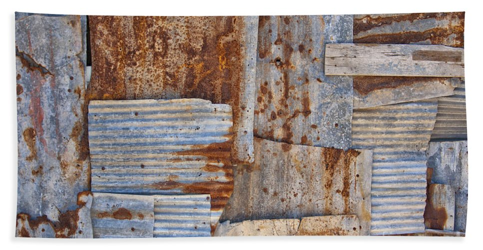 Iron Bath Sheet featuring the photograph Corrugated Iron Background by Antony McAulay