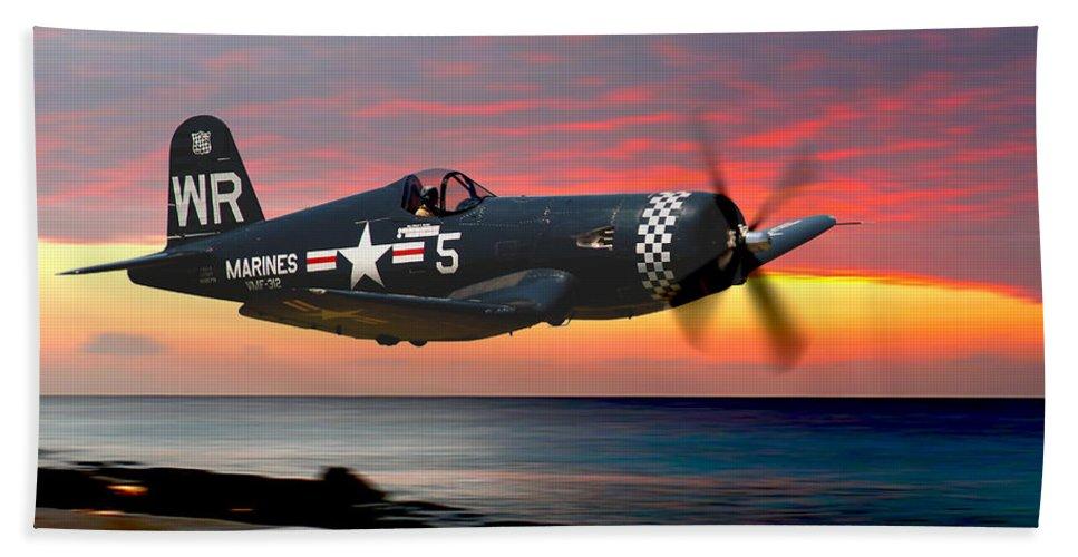 F4u Bath Sheet featuring the photograph Corsair At Sundown by Craig Purdie