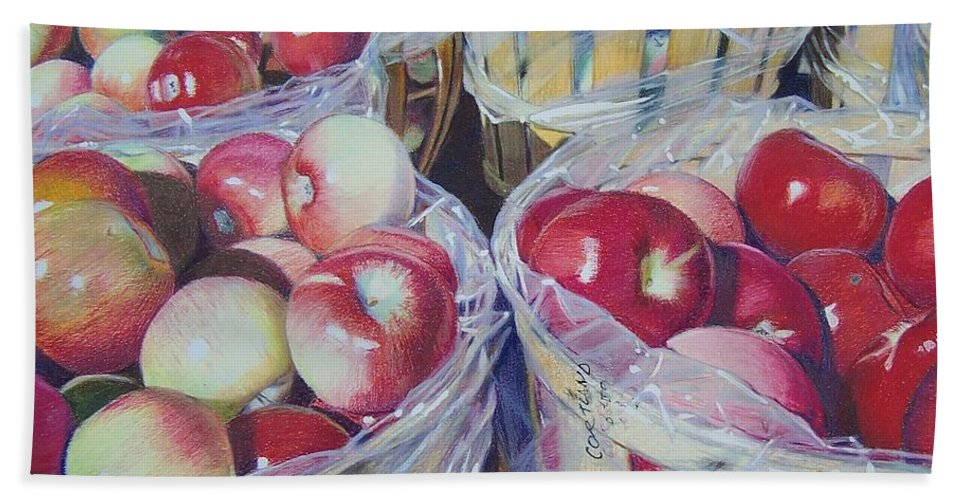 Apple Hand Towel featuring the mixed media Cortland Apples by Constance Drescher