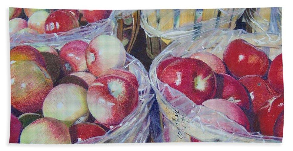 Apple Bath Sheet featuring the mixed media Cortland Apples by Constance Drescher