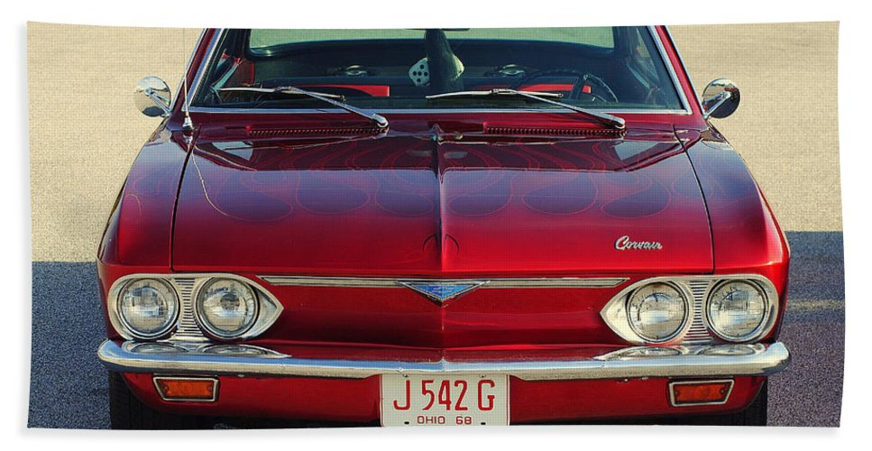 Dice Bath Sheet featuring the photograph Corvair by Frozen in Time Fine Art Photography