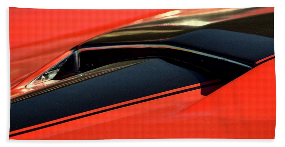 Red Bath Sheet featuring the photograph Corvette Torch by Dean Ferreira