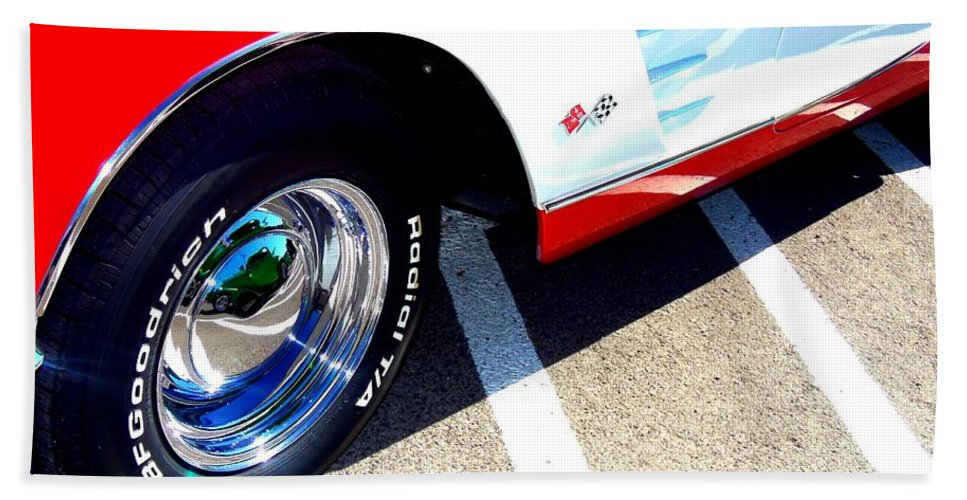 Corvette Hand Towel featuring the photograph Corvette Wheels by Bobbee Rickard