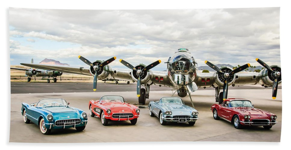 Corvettes With B17 Bomber Hand Towel featuring the photograph Corvettes And B17 Bomber by Jill Reger