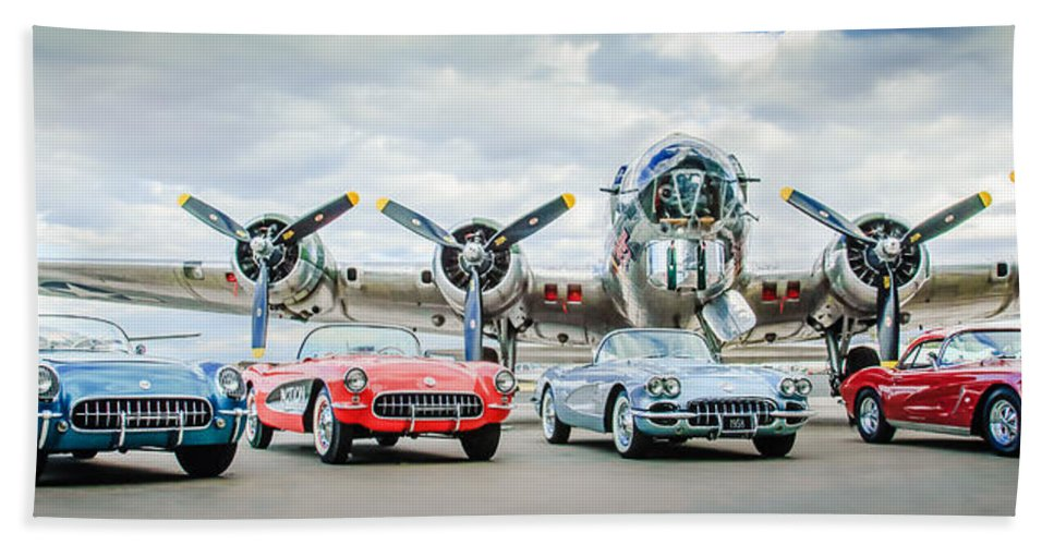 Corvettes With B17 Bomber Bath Sheet featuring the photograph Corvettes With B17 Bomber by Jill Reger