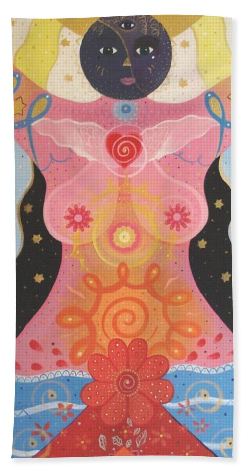 Goddess Hand Towel featuring the painting Cosmic Carnival I V Aka Creation by Helena Tiainen