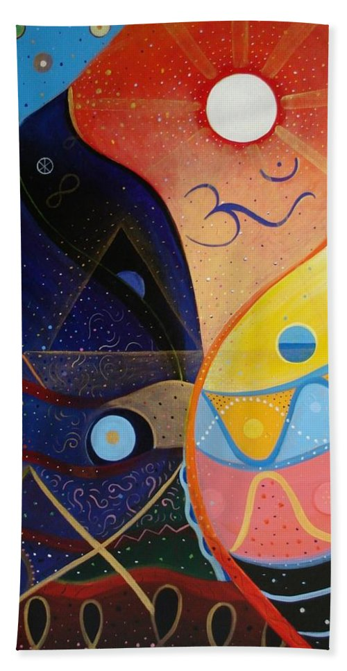 Value Hand Towel featuring the painting Cosmic Carnival Vlll Aka Sacred And Profane by Helena Tiainen