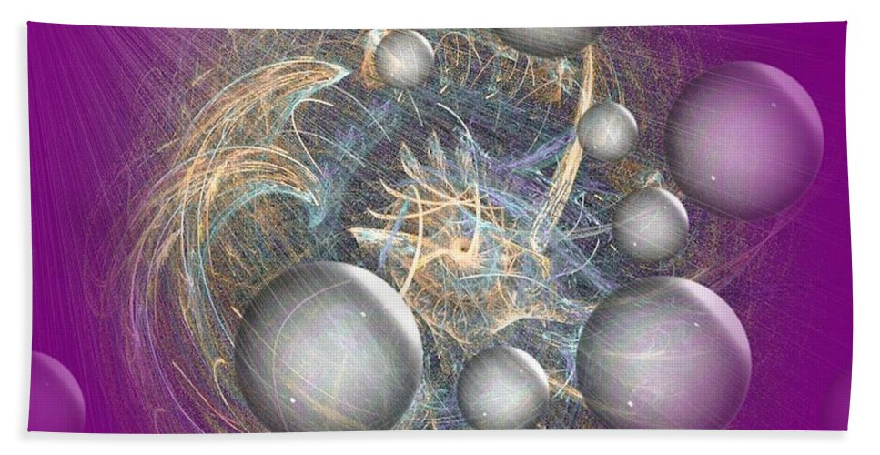 Cosmic Purple Hand Towel featuring the digital art Cosmic Purple by Maria Urso