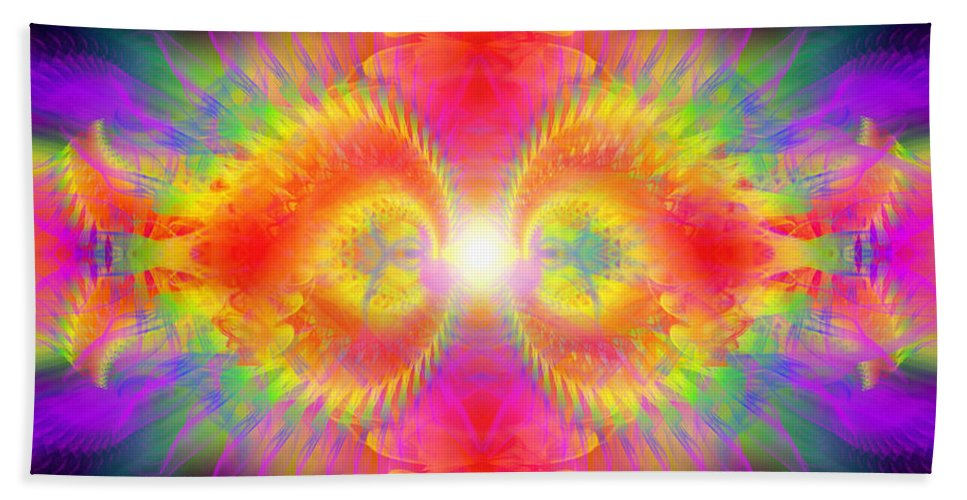 Cosmic Spiral Ascension Bath Sheet featuring the digital art Cosmic Spiral Ascension 02 by Derek Gedney