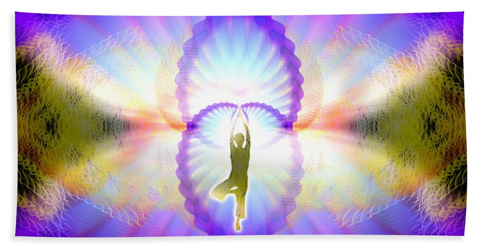 Cosmic Spiral Ascension Bath Sheet featuring the digital art Cosmic Spiral Ascension 07 by Derek Gedney