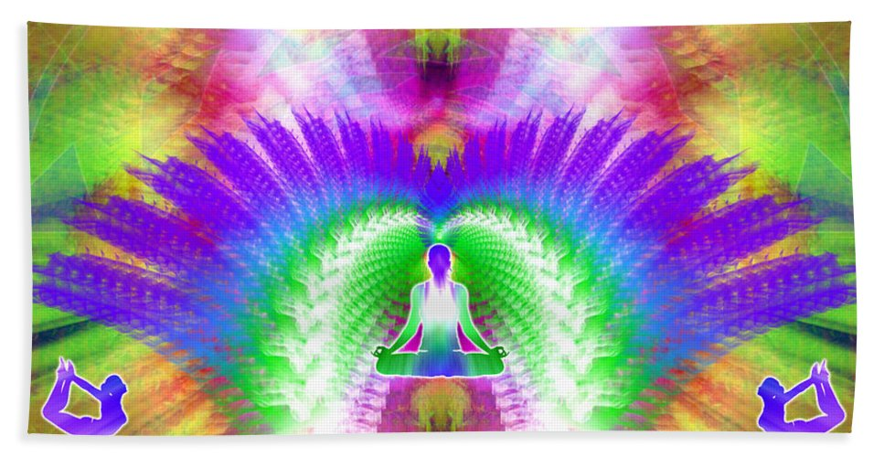 Cosmic Spiral Ascension Bath Sheet featuring the digital art Cosmic Spiral Ascension 13 by Derek Gedney