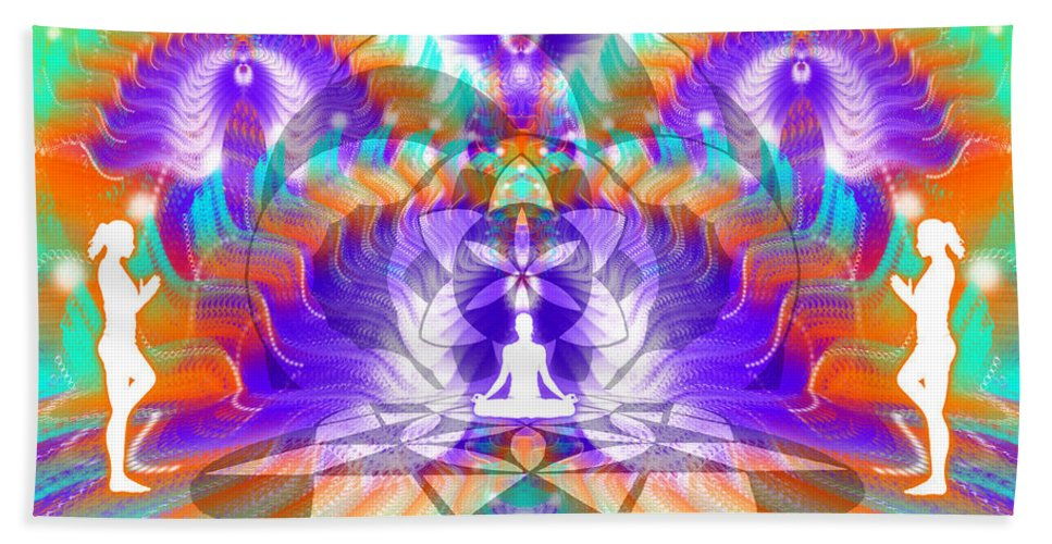 Cosmic Spiral Ascension Bath Sheet featuring the digital art Cosmic Spiral Ascension 61 by Derek Gedney