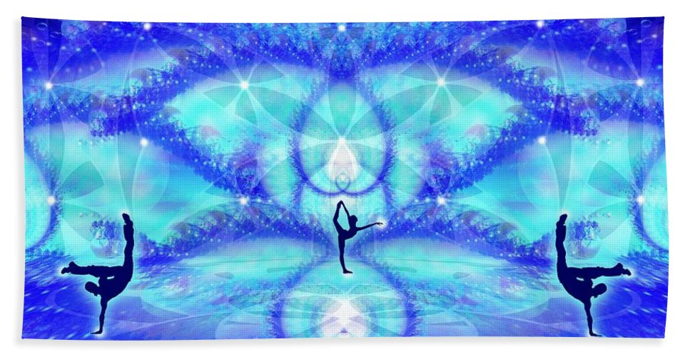 Cosmic Spiral Ascension Hand Towel featuring the digital art Cosmic Spiral Ascension 65 by Derek Gedney