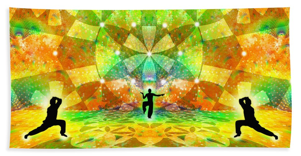 Cosmic Spiral Ascension Bath Sheet featuring the digital art Cosmic Spiral Ascension 66 by Derek Gedney