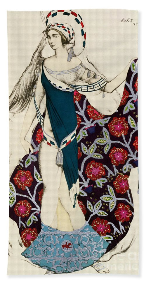 Leon Bakst Hand Towel featuring the painting Costume Design by Leon Bakst