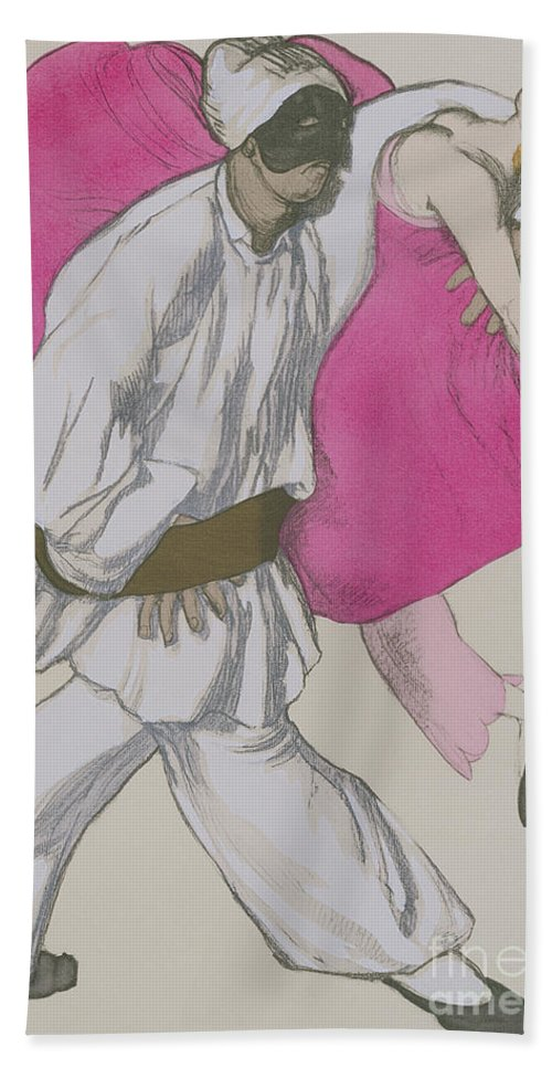 Leon Bakst Hand Towel featuring the painting Costume Designs For Pamina And Monostatos In The Magic Flute by Leon Bakst
