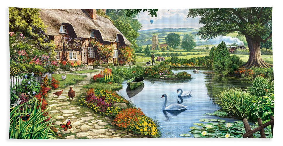 Steve Crisp Bath Towel featuring the photograph Cottage By The Lake by MGL Meiklejohn Graphics Licensing