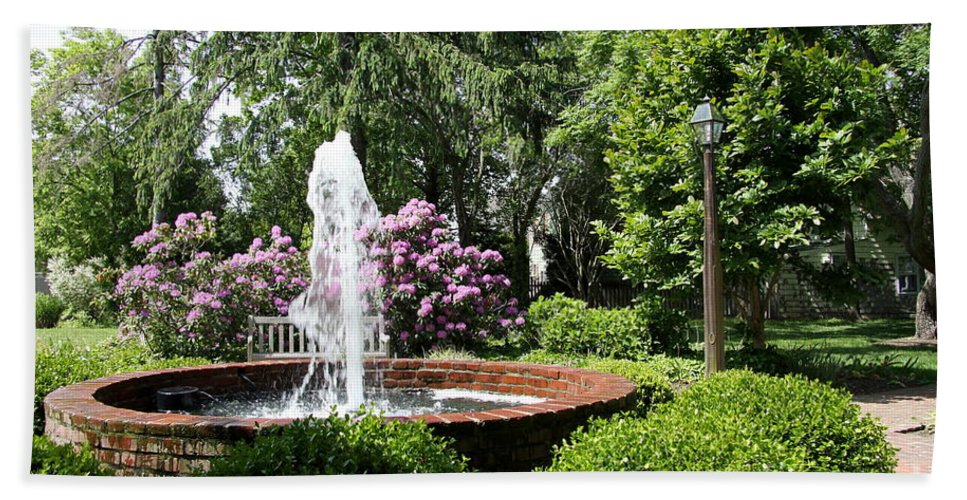 Cottage Garden Bath Sheet featuring the photograph Cottage Garden Fountain by Christiane Schulze Art And Photography