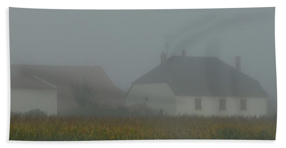 France Hand Towel featuring the photograph Cottage In Mist by Cheryl Miller