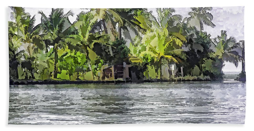 Alleppey Bath Sheet featuring the digital art Cottage In The Midst Of Greenery by Ashish Agarwal