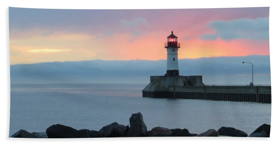 Lighthouses Hand Towel featuring the photograph Cotton Candy by Alison Gimpel