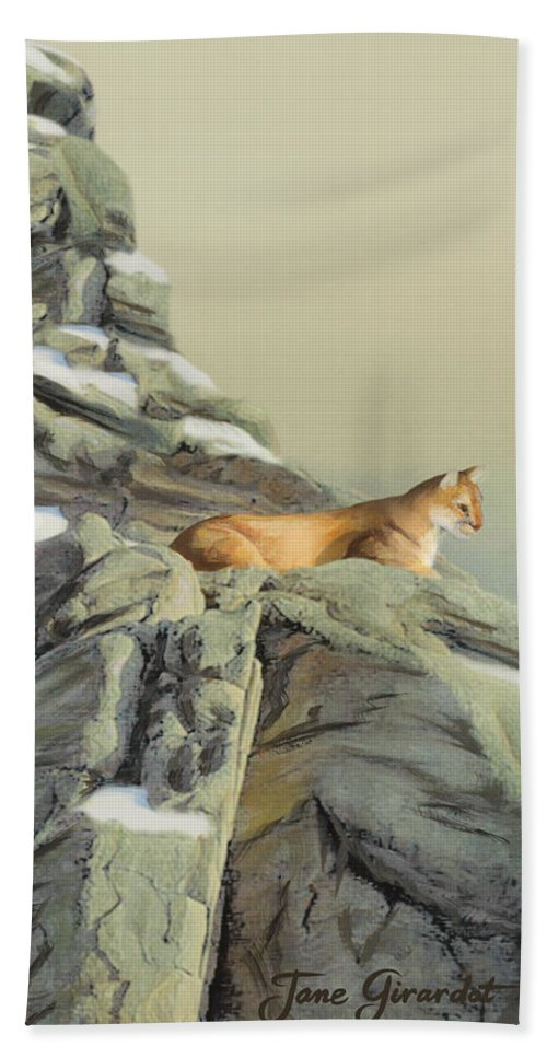 Cougar Hand Towel featuring the painting Cougar Perch by Jane Girardot