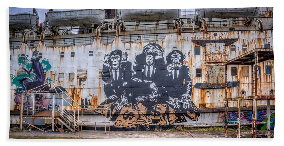 Abandoned Hand Towel featuring the photograph Council Of Monkeys by Adrian Evans