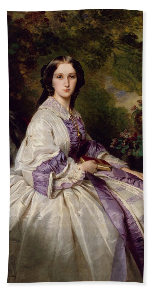 Franz Xaver Winterhalter Hand Towel featuring the painting Countess Alexander Nikolaevitch Lamsdorff. Maria Ivanovna Beck by Franz Xaver Winterhalter
