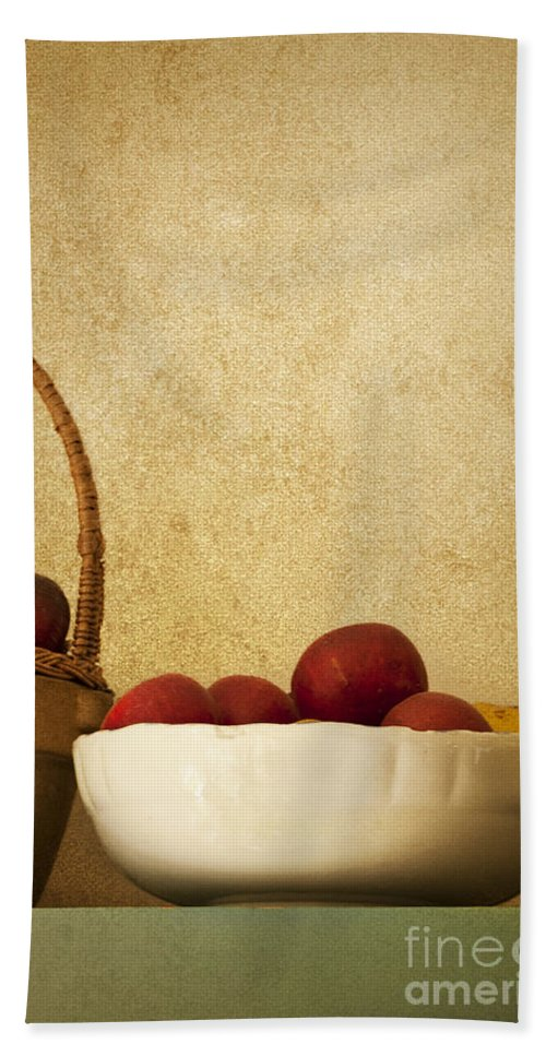 Apples; Bowl; Shelf; Antique; Fruit; Basket; Wall; Kitchen; Still Life; Ceramic; Plums; Old Fashioned; Red; Healthy; Fresh Bath Sheet featuring the photograph Country Apples by Margie Hurwich