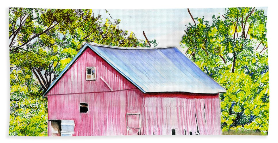 Barn Hand Towel featuring the drawing Country Barn by Bill Richards