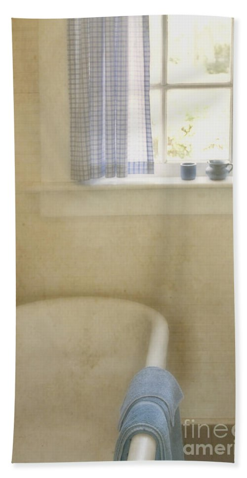Bathroom; Tub; Bathtub; Towel; Window; Cup; Checkers; Blur; Yellow; Inside; Indoors; Interior; Bath; Empty; No One; Bright; Airy; Vintage; Claw Foot; Tub; Curtains; Drapes; Still Life; House; Home; Country Bath Sheet featuring the photograph Country Bath by Margie Hurwich