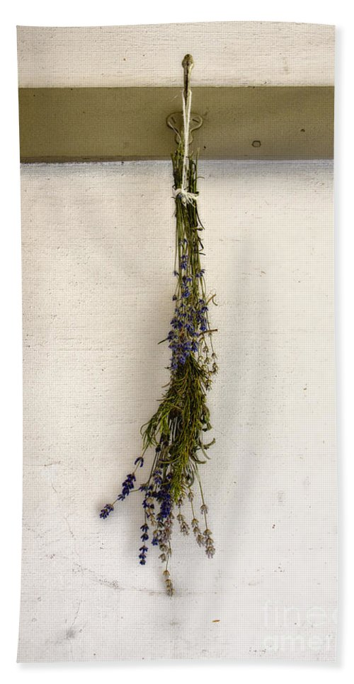 Dead; Flowers; Small; Sprig; Dried; Flower; One; Stem; Nature; Wilted; Vintage; Stucco; Hook; Hanging; Drying; Green; Purple; Indoors; Inside; Country Hand Towel featuring the photograph Country Charm by Margie Hurwich