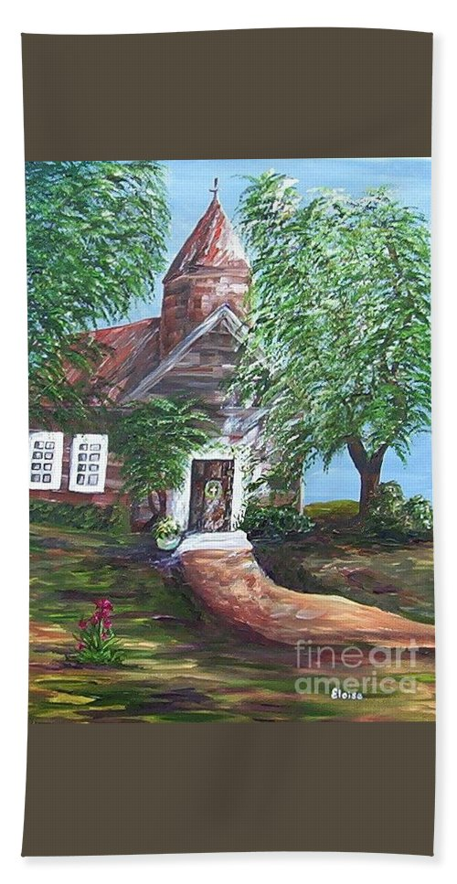 Church Bath Sheet featuring the painting Country Church by Eloise Schneider Mote