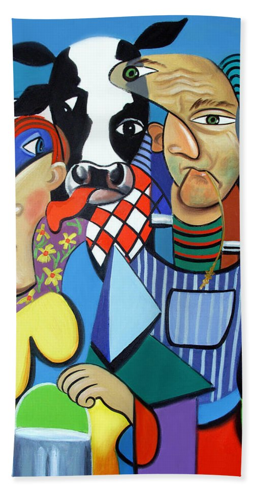 Country Cubism Hand Towel featuring the painting Country Cubism by Anthony Falbo
