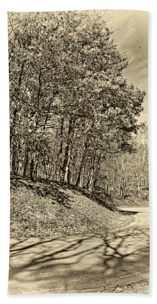 West Virginia Hand Towel featuring the photograph Country Curves And Vultures Sepia     by Steve Harrington