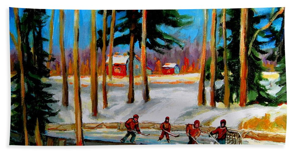 Country Hockey Rink Hand Towel featuring the painting Country Hockey Rink by Carole Spandau