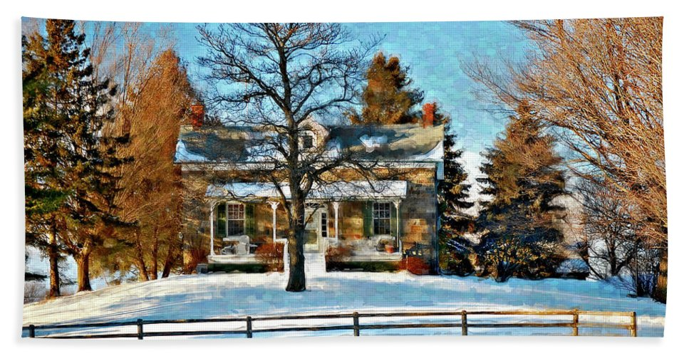 Country Living Hand Towel featuring the photograph Country Home Watercolor by Steve Harrington
