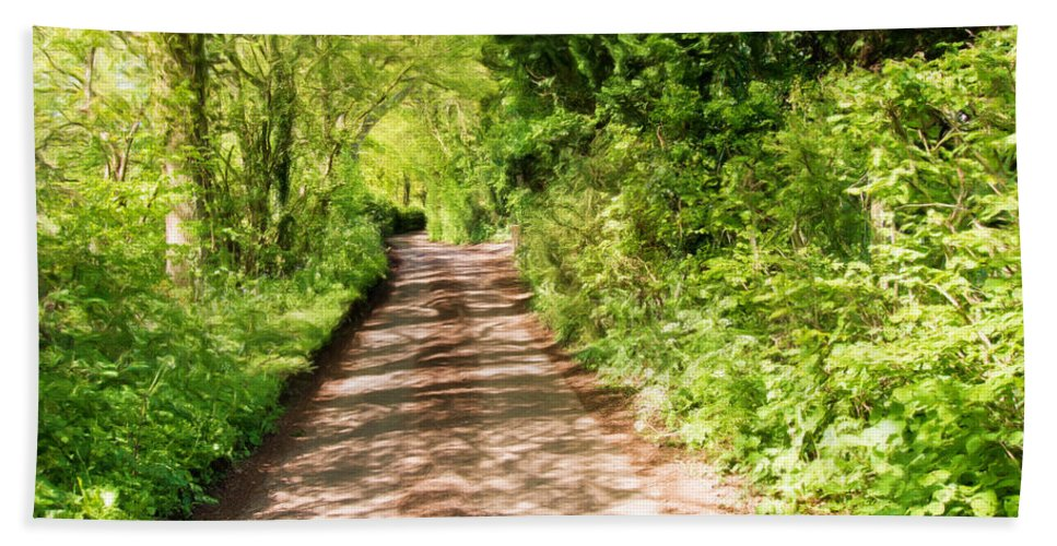Art Bath Sheet featuring the mixed media Country Lane Painting by Roy Pedersen