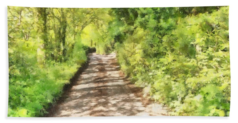 Art Bath Sheet featuring the mixed media Country Lane Watercolour by Roy Pedersen