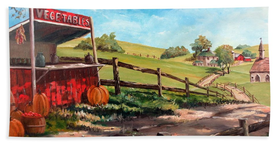 Farm Painting Bath Sheet featuring the painting Country Life by Lee Piper