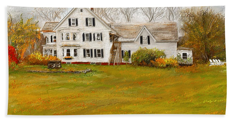 Farmhouse At Robinson Farm Bath Sheet featuring the painting Country Moments-farmhouse In Woodstock Vermont by Lourry Legarde