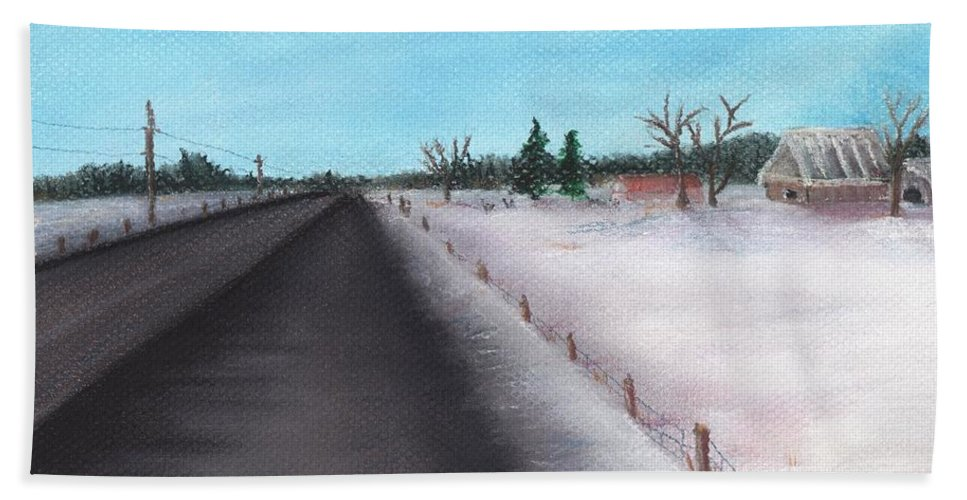 Calm Bath Sheet featuring the painting Country Road by Anastasiya Malakhova