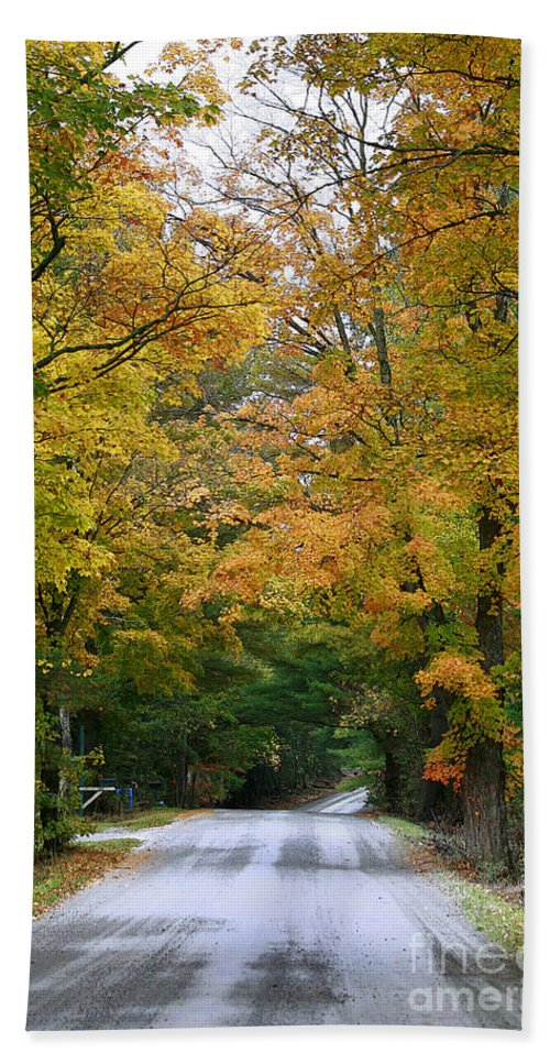 Fall Bath Sheet featuring the photograph Country Road Fall Vermont by Deborah Benoit