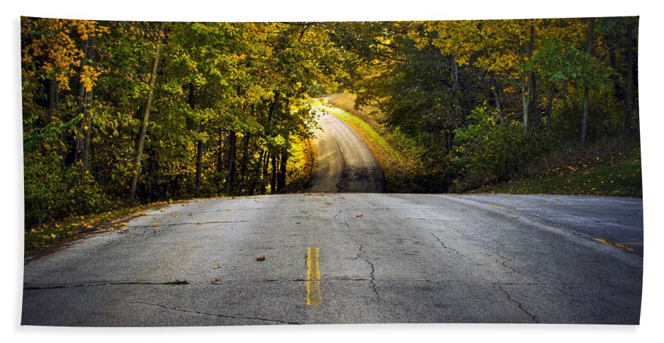 Fall Bath Sheet featuring the photograph Country Road In Fall by Roger Passman