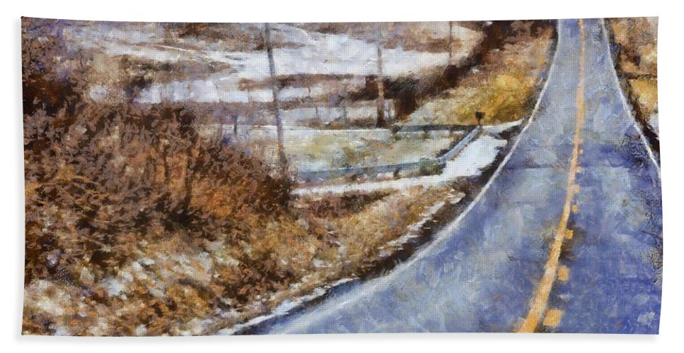 Country Roads In Ohio Hand Towel featuring the painting Country Roads In Ohio by Dan Sproul