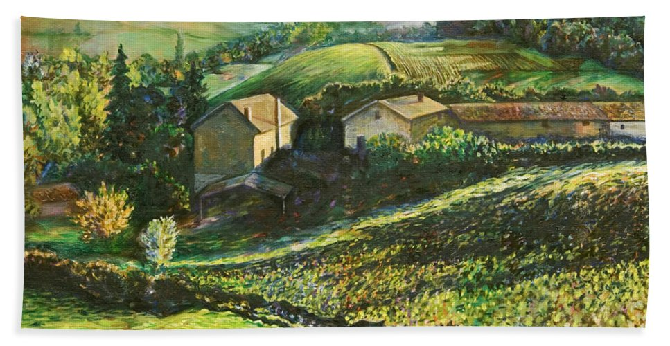 Landscape Hand Towel featuring the painting Country Sundown by Karen Nell McKean